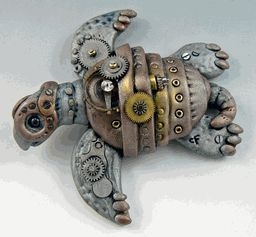 steampunk polymer clay turtle!