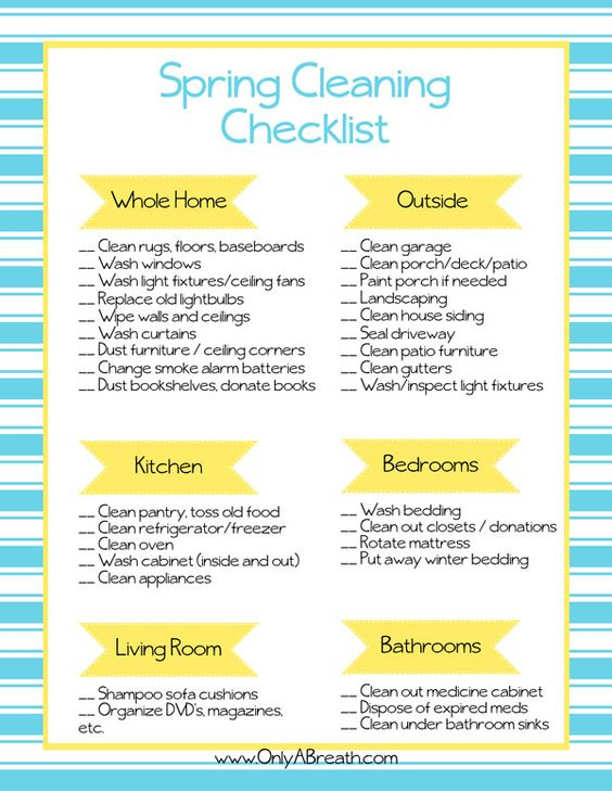 FREE Printable Spring Cleaning Checklist - also great for getting your home ready to sell! Includes whole home, outdoors, kitchen, bedrooms, bathrooms, and living room. Sping Cleaning is much more fun when you have a fun, colorful printable checklist!: