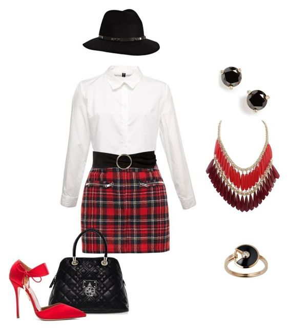 """""""Sexy school"""" by elisa-itgirl ❤ liked on Polyvore featuring Filles à papa, GUESS, Anine Bing, MANGO, Aquazzura, Kate Spade and Cartier"""