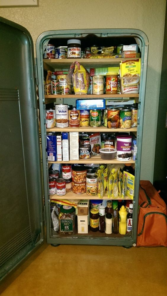 Vintage Refrigerator Repurposed Into A Pantry