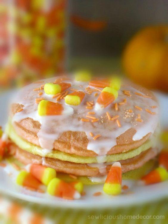 Halloween Buttermilk Candy Corn Pancakes. sewlicioushomedecor.com: