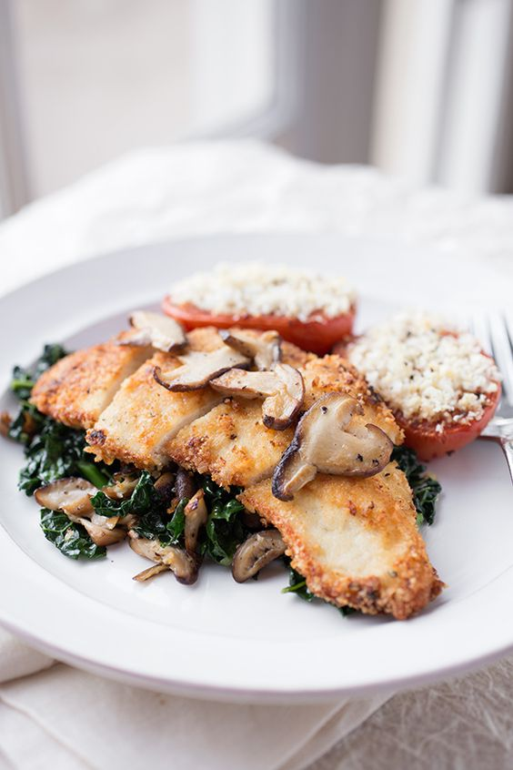 Crispy Seared Chicken Breasts with Garlicky Kale & Seared Shiitake Mushrooms / by The Cozy Apron