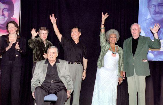 Majel Barrett Roddenberry, Walter Koenig, Chris Doohan, George Takei, Nichelle Nichols and Neil Armstrong