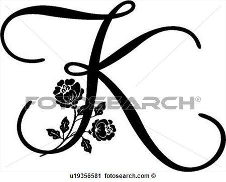 lettered, alfabeto, capital, k, monogram, script, Ampliar Gráfico Clipart