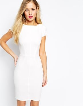 Closet Midi Pencil Dress With Pintuck Sleeve - White pencil ...
