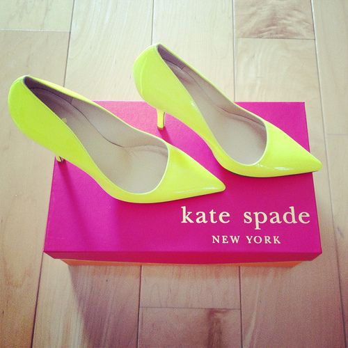 StylishPetite.com   Review: J.Crew, Kate Spade neon pumps, Ann Taylor polkadots and Guess shoes