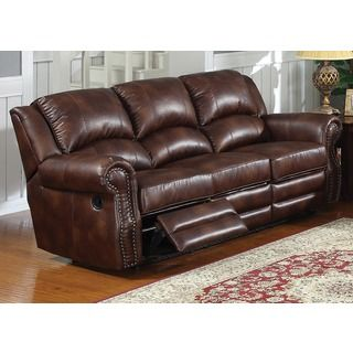 ABBYSON LIVING U0027Madisonu0027 Premium Grade Leather Pushback Reclining Sofa |  Overstock.com Shopping