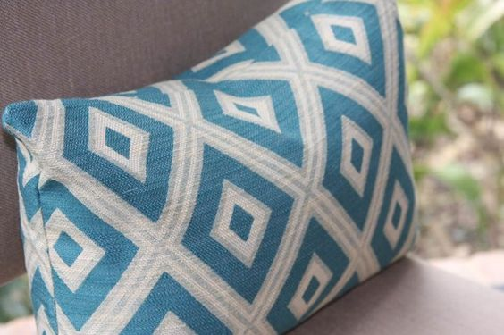 Turquoise and gray pillow for the living room.