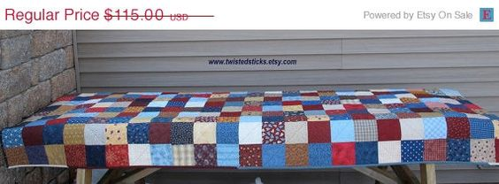 Spring Sale Patchwork Picnic Tablecloth Quilted by twistedsticks, $97.75