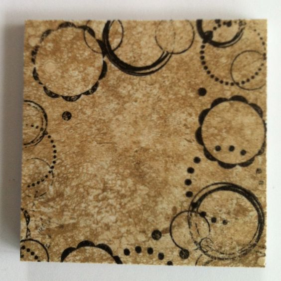 """From Huckbyshappilyeverafter.blogspot and pinned to my """"DIY, things I've made, or will make"""": coasters from 3x3 bathroom tiles (16 for $10.99 - 15% at Menards. Staz On Jet Black Ink, acrylic stamp (12"""" long, cut in 2) from POSSIBLY www.paperwishes.com, circa, 2009, but I could be wrong. P.S. Keep rubbing alcohol close by to wipe away mistakes, rinse, start over.  Also - I didn't use the turtle wax as in the org. post.  Didn't like the finish, but like the """"thirsty stone"""" effect."""