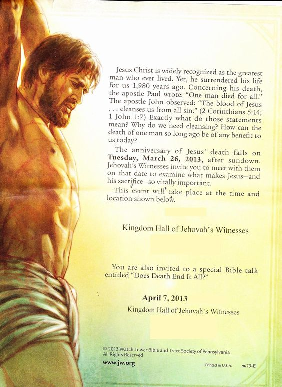 """ONE MAN DIED FOR ALL"" The anniversary of Jesus' death is on March 26.  http://www.jw.org/en/jehovahs-witnesses/memorial/"