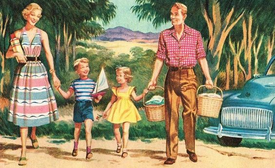 Roger Wilkerson, The Suburban Legend! rogerwilkerson: Family Picnic - detail from 1953 Mobil ad.: