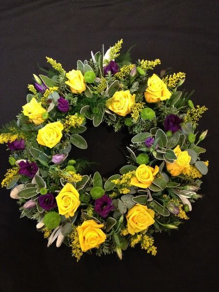 Yellow Rose and Purple Lisianthus Funeral Flower Wreath Country