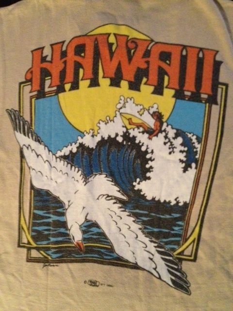 70's Vintage SURF HAWAII CRAZY T Shirt Skater Aloha Slim