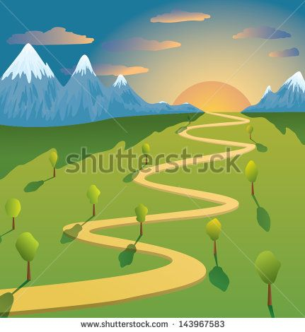 Vector mountain and road landscape at sunset - stock vector