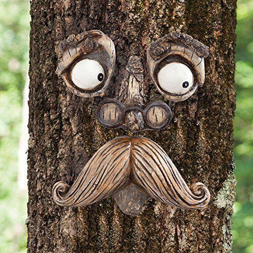 Old Man Tree Hugger Garden Yard Art Decoration Outdoor Sculpture Whimsical Face