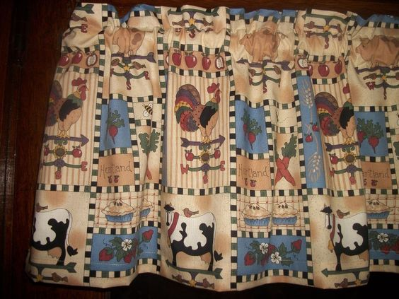 Kitchen Curtains chicken kitchen curtains : Rooster Chicken Pig Cow Apple Sunflower country fabric curtain ...
