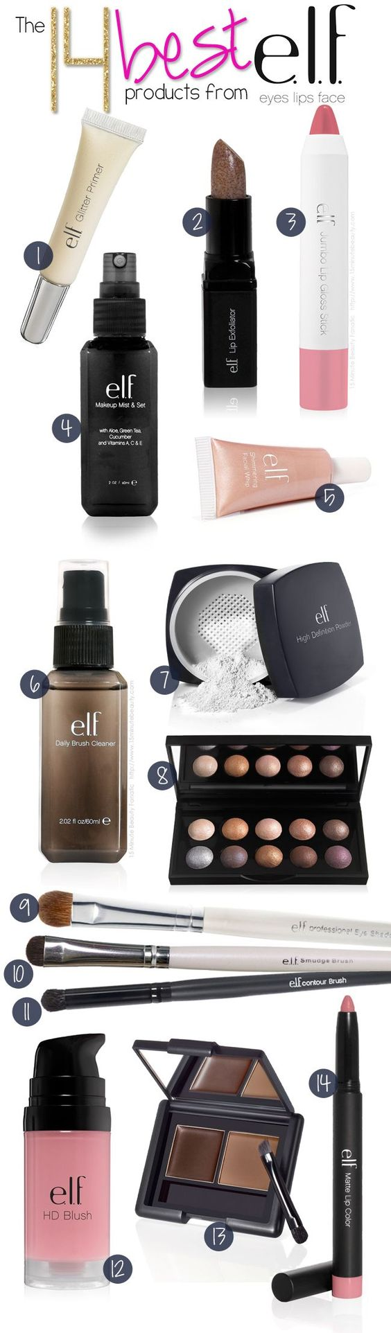 @15minbeauty shares her 14 favorite, must have beauty products from e.l.f.! http://www.15minutebeauty.com/2013/10/best-makeup-products-elf-eyes-lips-face.html