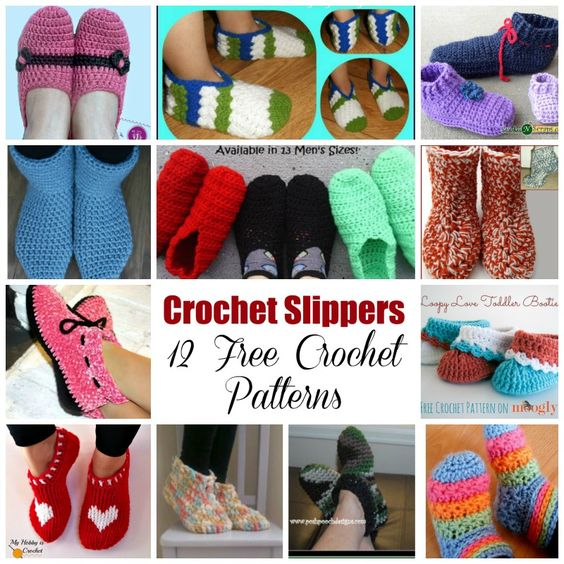 12 Crochet Slippers - Free Crochet Patterns - (myhobbyiscrochet):