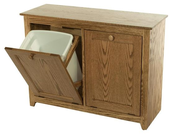Wood double tilt out trash and recyling combo bin trash bins amish and ps - Amish tilt out trash bin ...