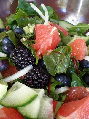 {Chopped Grapefruit and Mixed Berry Salad}