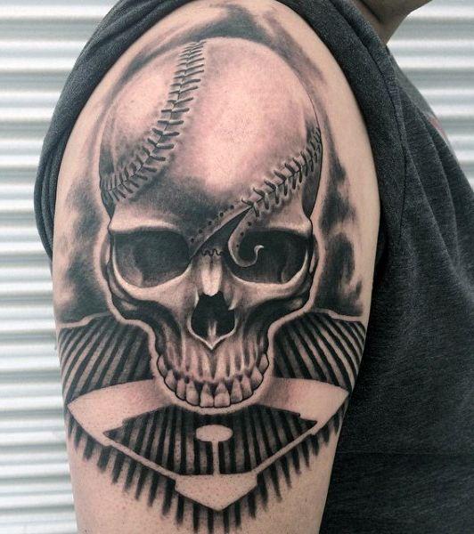 Skull Baseball Seams Tattoo For Males On Arm