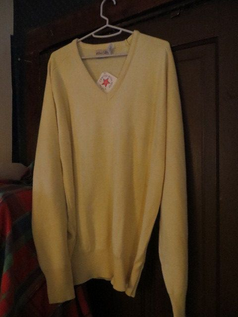 1970  mod  mens v neck orlon sweater  by by Linsvintageboutique