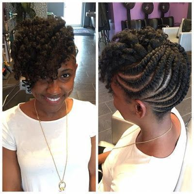 Natural Hair Updo Styling For Black Women To Style Their Hair At Home In 2020 Natural Hair Updo Hair Twist Styles Flat Twist Hairstyles