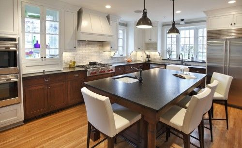 KUHL PHOTO OF THE DAY: This magnificent kitchen sits where the useless back porch used to be of this Minnehaha Creek home. The two story addition allowed a functional kitchen & an expanded master suite. The window backed cabinet (next to wall ovens) is great for natural light, creative display, & adding privacy from the very close neighbors.