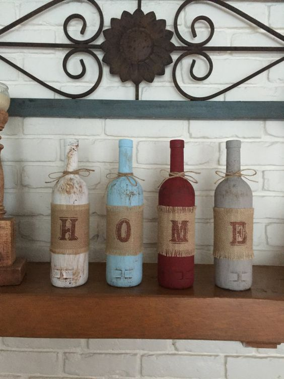 Home wine bottle mantle or shelf decor, rustic home decor, wine bottles, centerpiece, gifts under 50