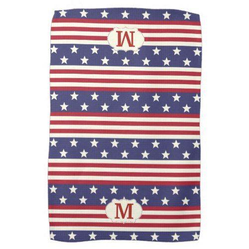 Patriotic American Flag Stars And Stripes Monogram Towel Zazzle Com Monogram Towels American Flag Stars Flag