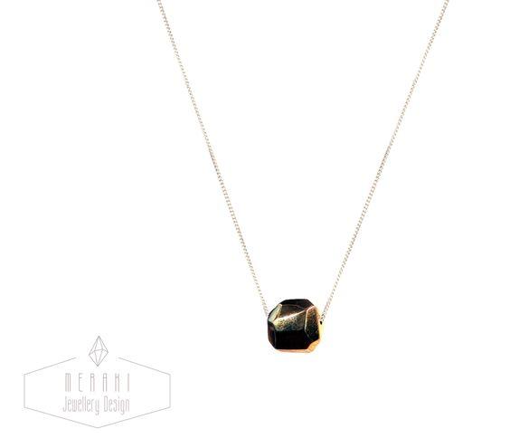 Brass geometric bead necklace www.merakijewellerydesign.com