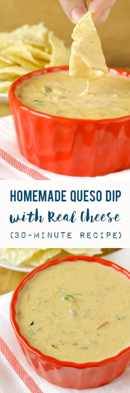 An easy homemade queso dip recipe made with three types of real cheese, onion, garlic, peppers, and spices in 30 minutes or less. Perfect for game day parties, holiday gatherings, or a relaxing night in! | Real Food Recipe | Appetizer | Cinco de Mayo | Tex Mex |  #dip #queso #GameDayEats #superbowl #easyrecipe