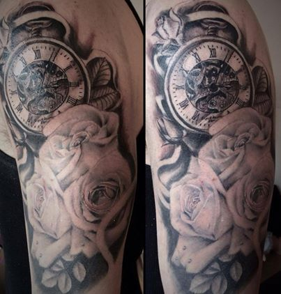 Black and grey floral and pocket watch tattoo 6 hours by for Tattoo cost per hour