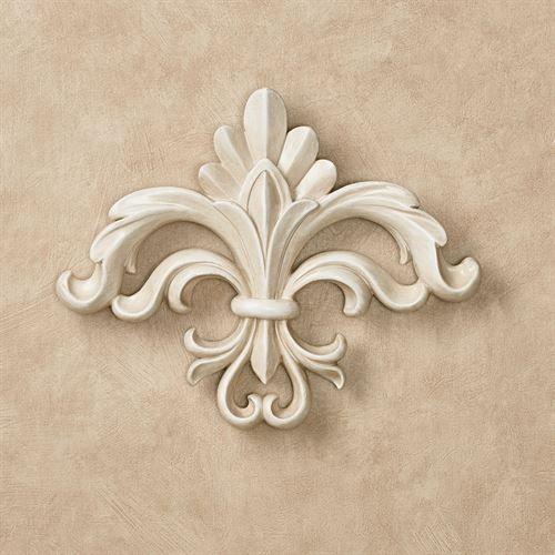 Rhett Antique White Fleur De Lis Wall Accent Filigree Tattoo Gold Wall Decor Hand Painted Decor