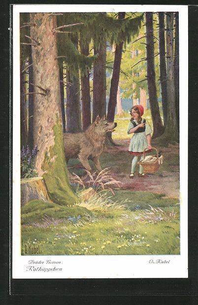 Alte Ansichtskarte: Künstler-AK Otto Kubel: Brüder Grimm, Rotkäppchen, 2. Wie nun Rotkäppchen durch den Wald kam...