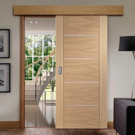 Single Sliding Door Wall Track Portici Oak Flush Door Aluminium Inlay Prefinished Schuifdeuren Badkamer Deuren Deuren Interieur Glazen Schuifdeur