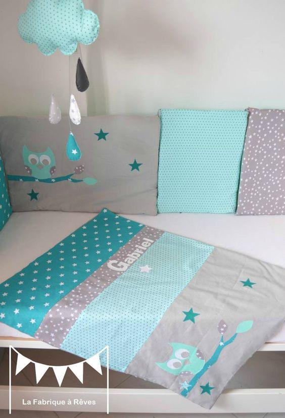 couverture b b turquoise vert d 39 eau mint hibou toiles pr nom b b pinterest turquoise. Black Bedroom Furniture Sets. Home Design Ideas