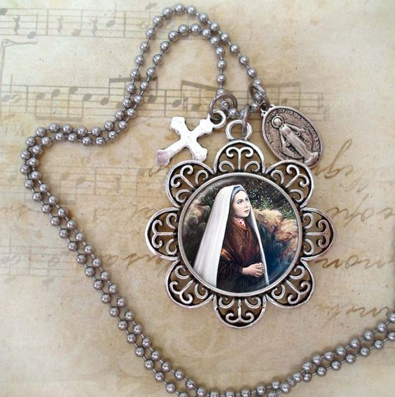 St. Bernadette,  Stunning Saint Necklace in Antique Silver or Bronze (Image Number 180) Catholic Jewelry