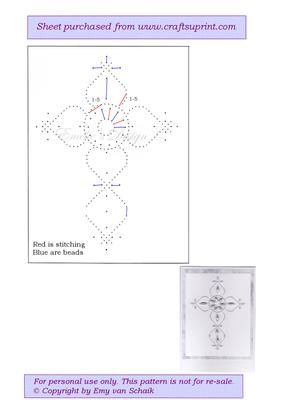 ED067 Condolence on Craftsuprint designed by Emy van Schaik - Stitching with beads - Now available for download!
