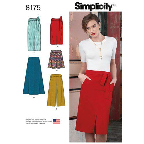 Simplicity Pattern 8175 Misses' Slim and Flared Skirts, Cropped Pants, and Tie Belt
