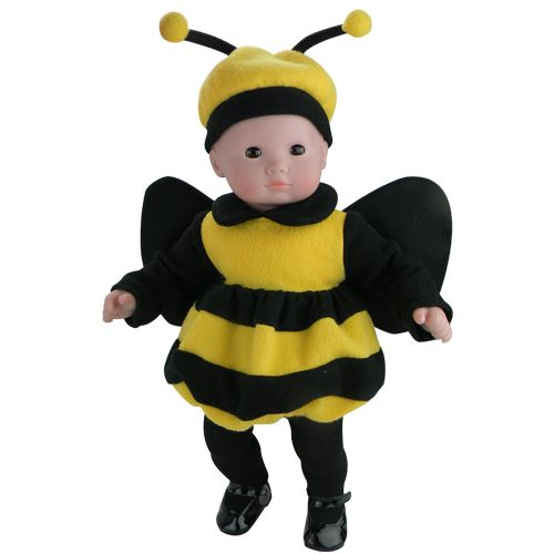 Bee Costume+Antenna Hat+Tights 15 in Doll Clothes Fits American Girl Bitty Baby
