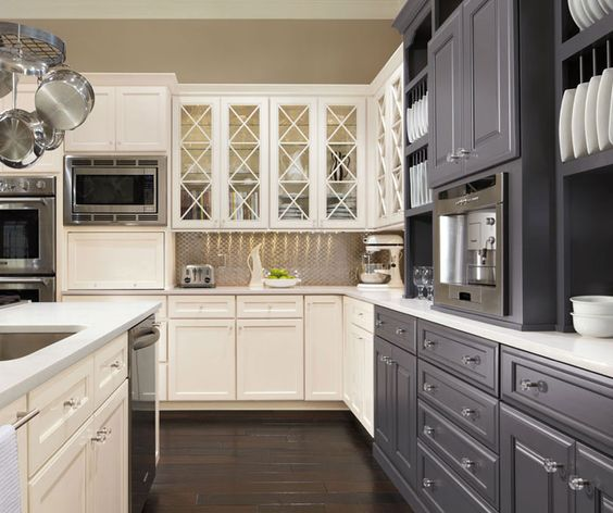 Traditinal Kitchen: White + Grey Cabinets With Dark Wood
