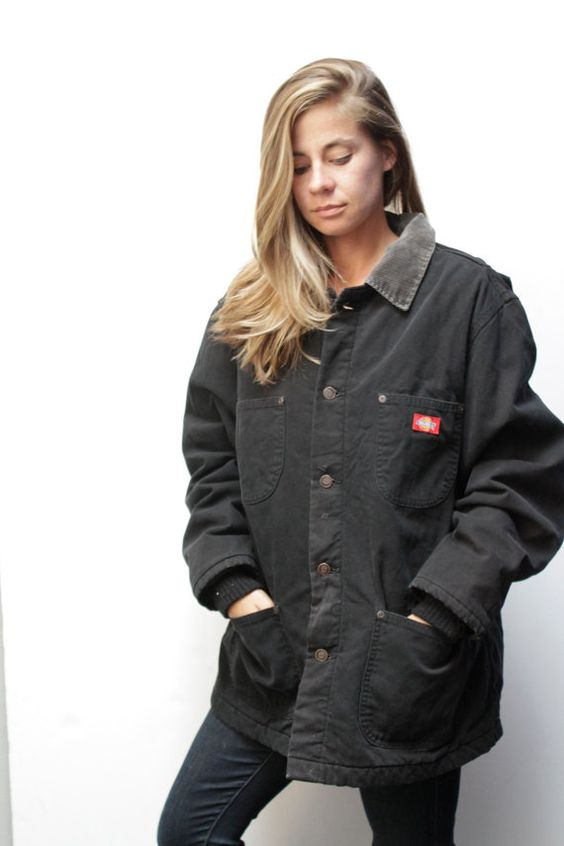 DICKIES 90s black DENIM JACKET women's field jacket WorkWear coat ...