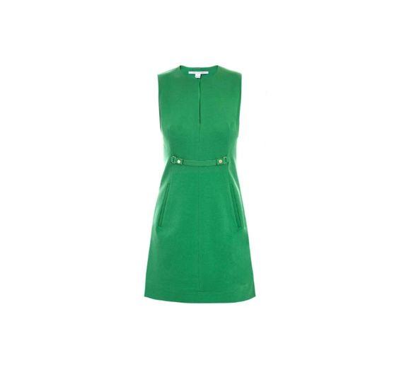 Vestido verde Diane Von Furstenberg com bolsos e cortes retos