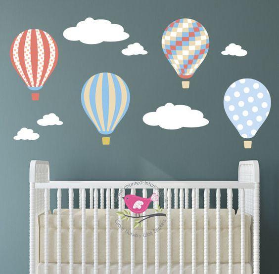 Hot Air Balloon Wall Decal. Patterned by EnchantedInteriorsUK