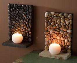 #Piedras, #Stones Piedras de río con vela River Stone mini shelves/candle holders