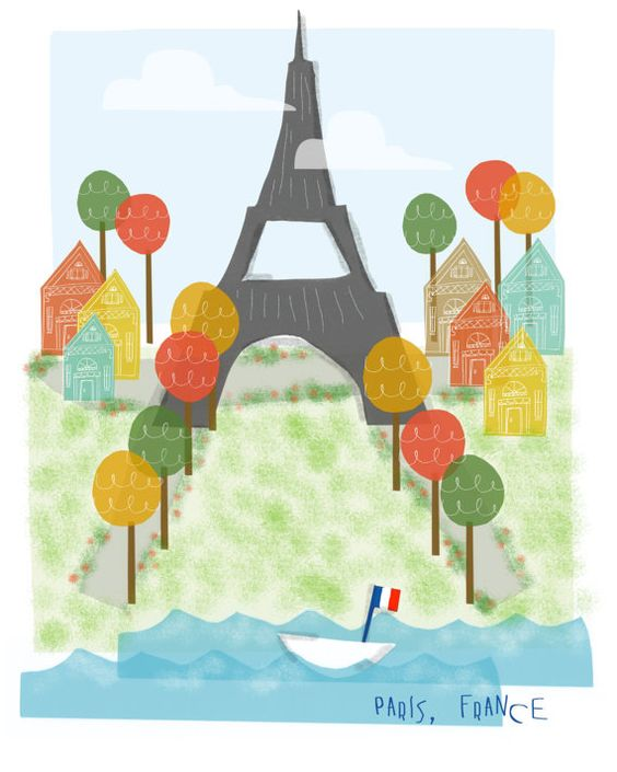Small Eiffel Tower Wall Decor : Paris france art print eiffel tower city