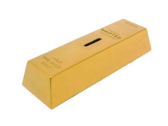 Para que tus ahorros valgan oro necesitas tener nuestra alcancía de lingote Wanted.