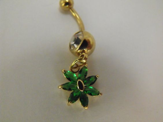 Gold and Emerald Sapphire Flower Belly Ring by AGothShop on Etsy, $18.00